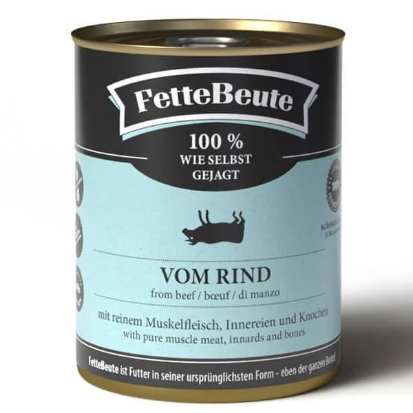 FetteBeute Nassfutter Rind - BARF 100% wie selbst gejagt für Hunde