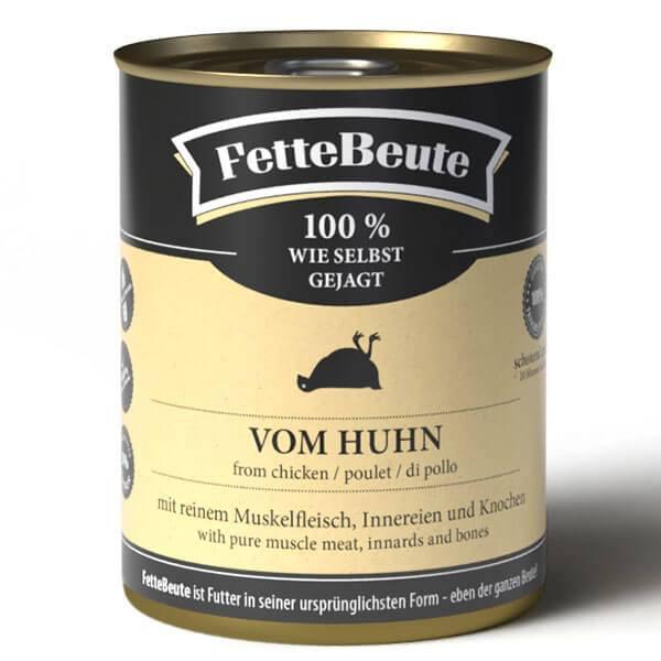 FetteBeute Nassfutter vom Huhn - BARF 100% wie selbst gejagt in der Dose