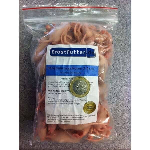 FrostFutter.de - Gefrorene Futtertiere für Reptilien: Babymäuse ca. 2-4cm