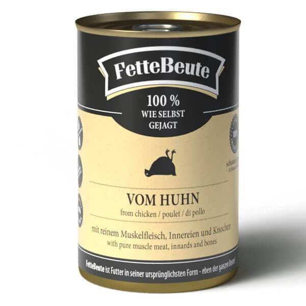 FetteBeute BARF Nassfutter für Hunde mit zartem Hühnerfleisch - 12x400g Sparbundle