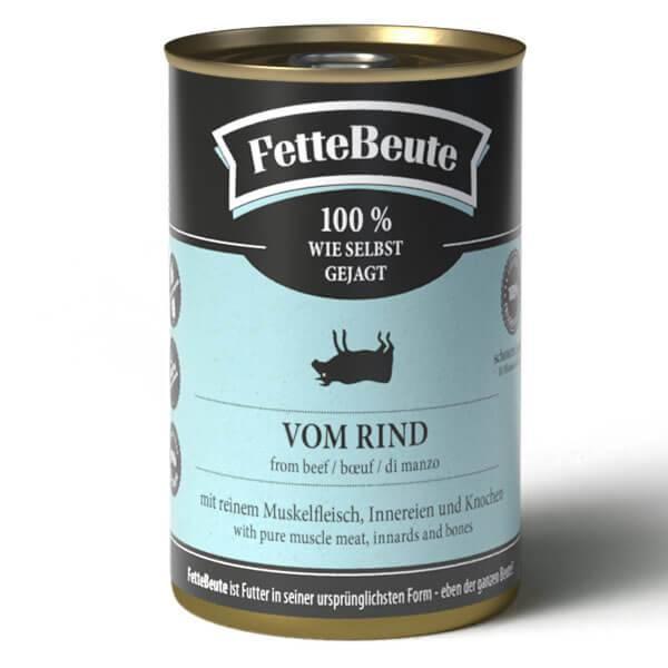 FetteBeute BARF Nassfutter für Hunde mit saftigem Rindfleisch - 24x400g Sparbundle