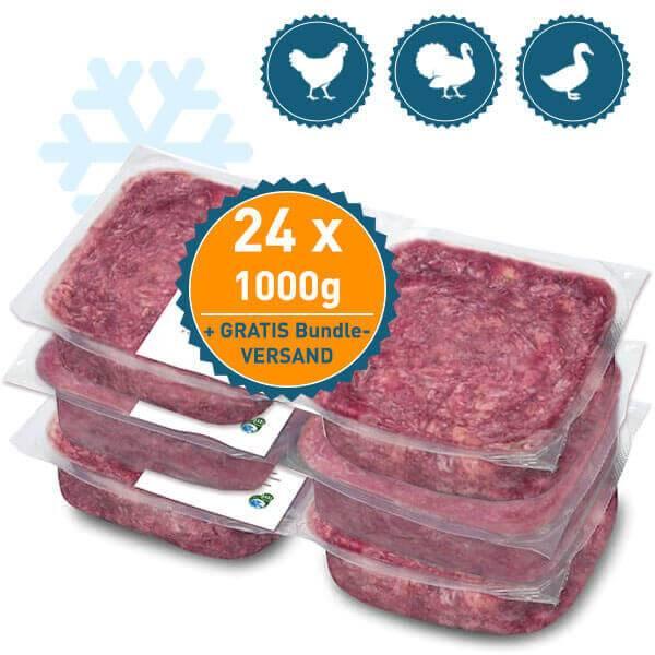 FrostFutter BARF Komplettpaket mit saftigem Fleisch von Ente, Huhn und Truthahn mit kalziumreichen Karkassen
