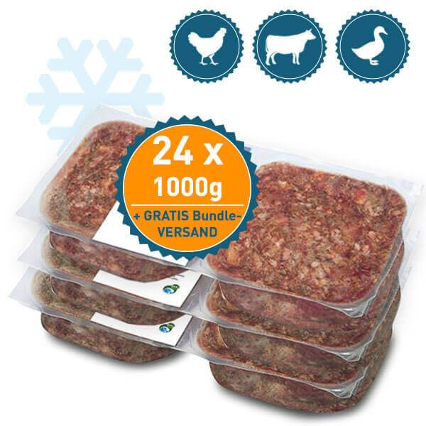 FrostFutter BARF Carnivor Paket für Hunde mit kraftvollem vom Rind, Huhn und der Ente