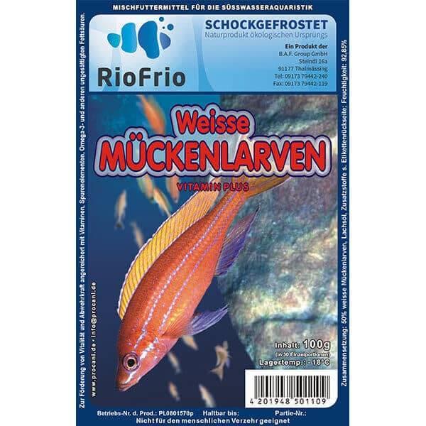 RioFrio natürliches Frostfutter für Aquaristik - Weiße Mückenlarve Vitamin Plus