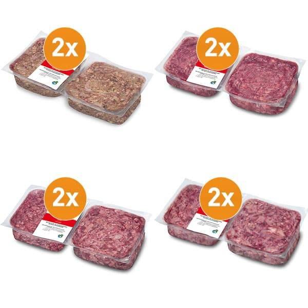 FrostFutter Basis BARF Hundefutter Paket mit 4 verschiedenen Frostfleisch-Produkten