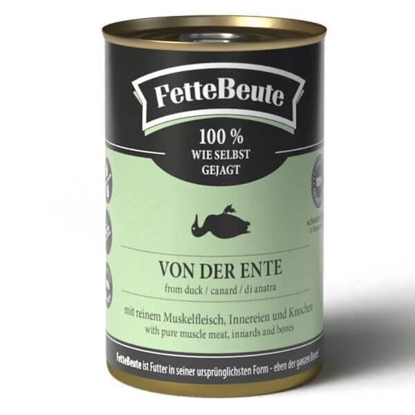 FetteBeute BARF Nassfutter für Hunde mit saftigem Entenfleisch - 24x400g Sparbundle