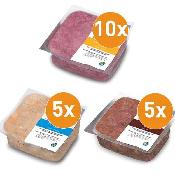 FrostFutter Rohfleisch Sensitiv Paket für Hunde mit Lamm, Geflügel und Lachs