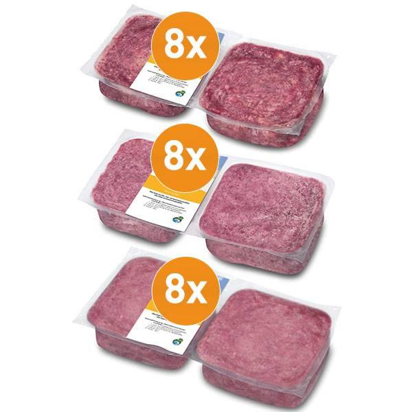 BARF Frostfleisch Geflügelpaket mit je 8 Kilo Hühnerfleisch, Putenkomplett & Geflügelkomplett