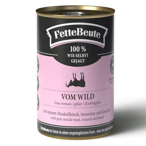 FetteBeute BARF Nassfutter für Hunde mit zünftigem Wildfleisch - 24x400g Sparbundle