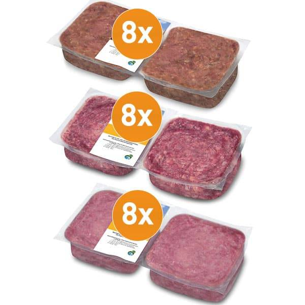 FrostFutter BARF Rohfleisch Paket für Hunde vom Lamm und Geflügel