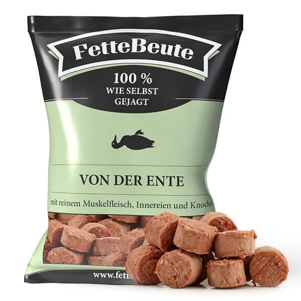 FrostFutter.de - FetteBeute BARF Komplettmenü Nuggets mit rein tierischer Rezeptur von der Ente