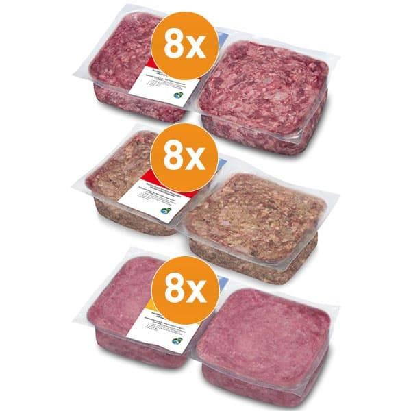 FrostFutter BARF Probepaket mit Frostfleisch vom Rind und Geflügel